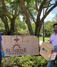 Donated food and 200 KN95 masks