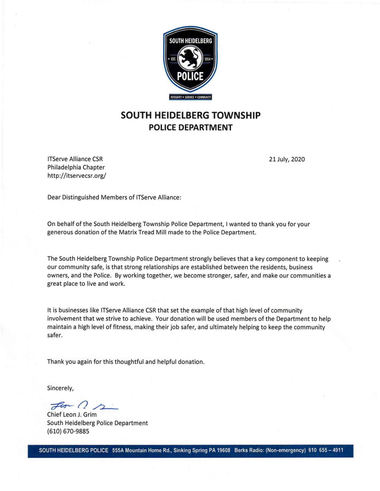 Received a Thank You letter from South Heidelberg Township Police Department