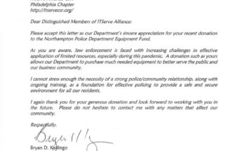 Received a Thank You letter Northampton Borough Police Department