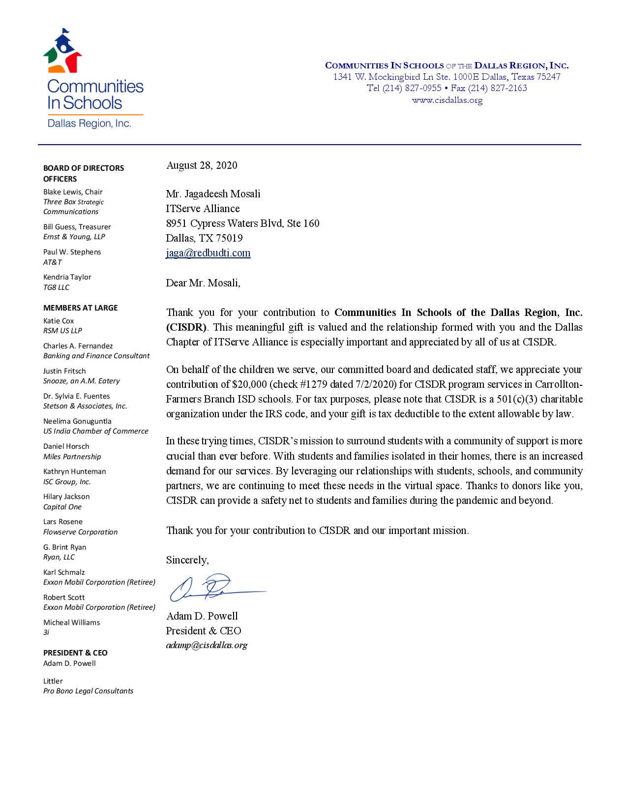 Received a Thank You letter From Communities in Schools of The Dallas Region