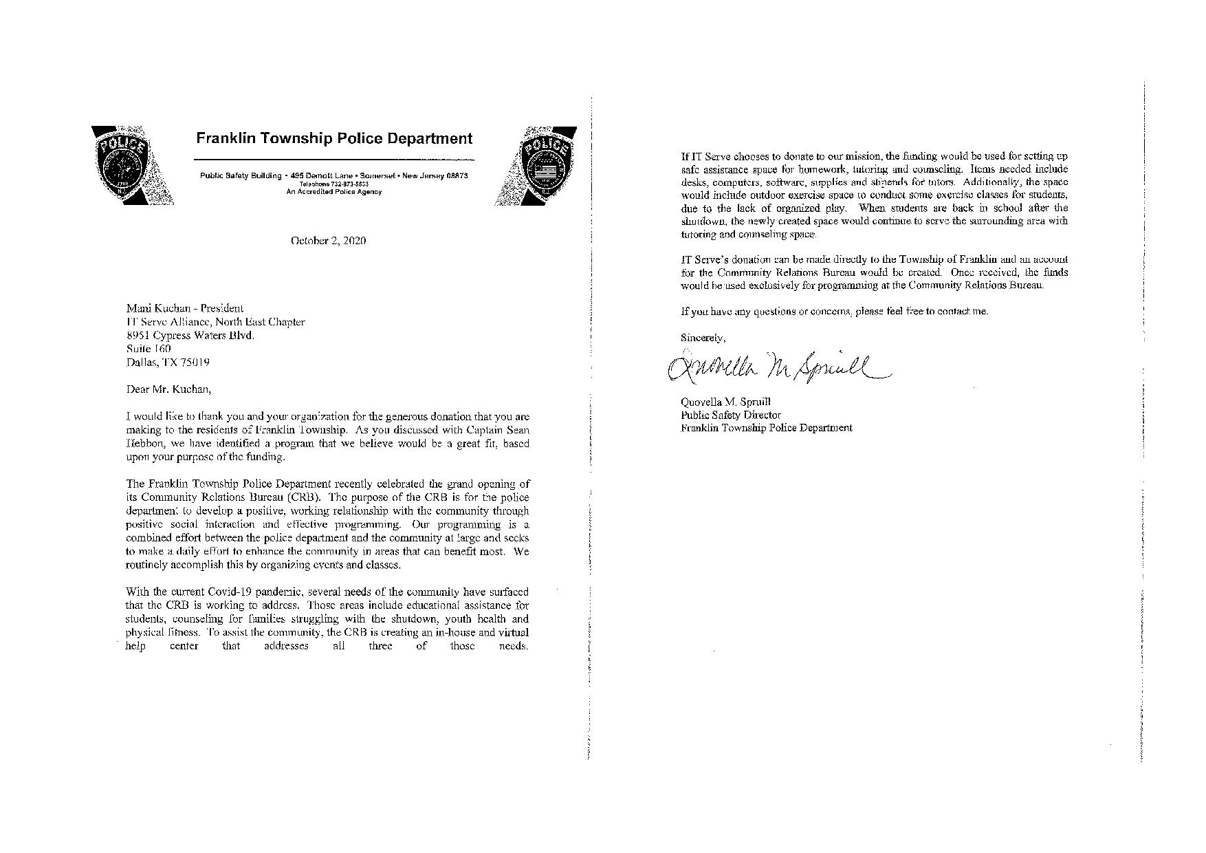 Received a Thank You letter From Franklin Township Police Department
