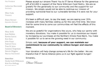 Received a Thank You letter From Executive Director of Marie Wilkinson Food Pantry