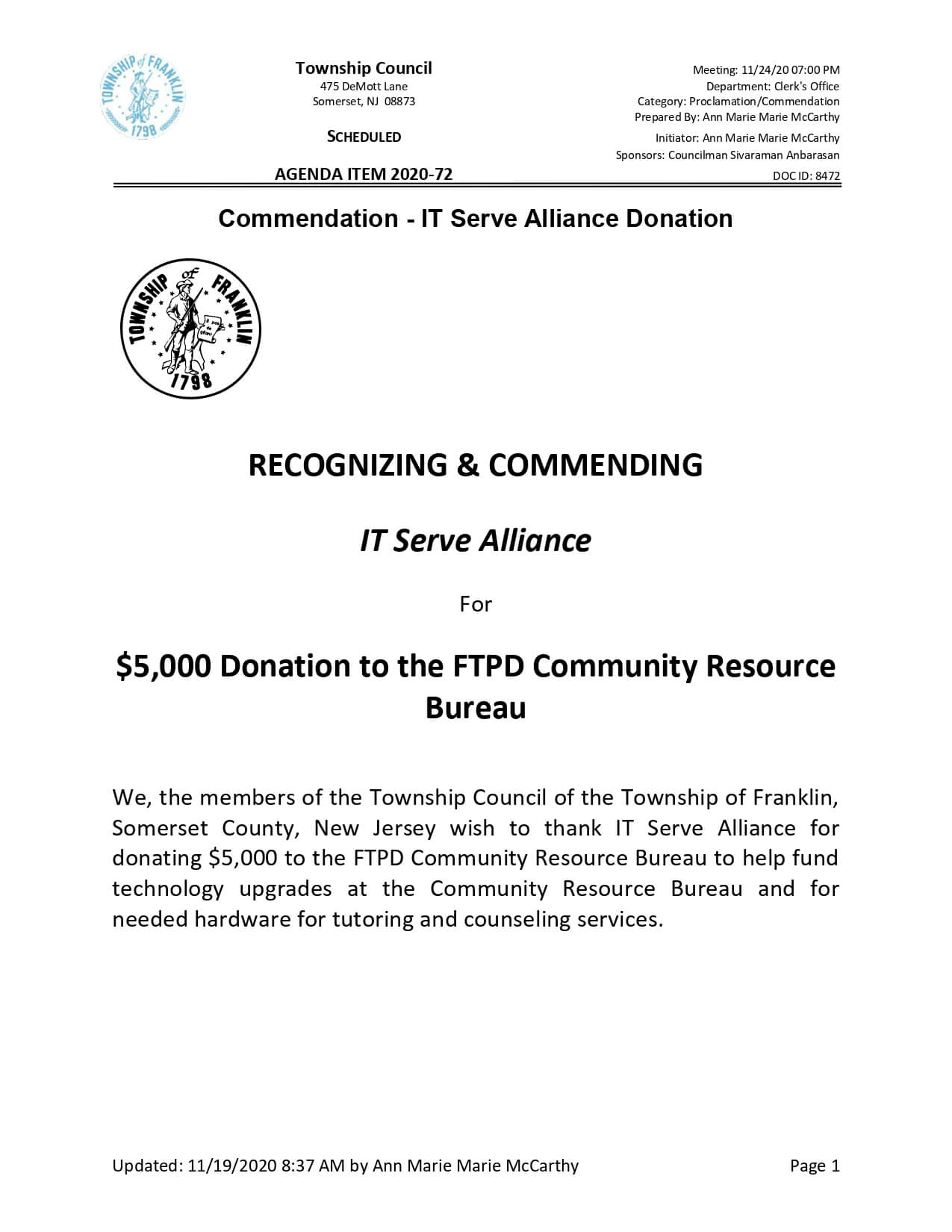 Donated $5,000 to the FTPD Community Resource Bureau