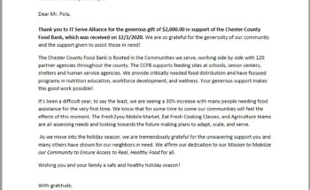 Thanking you letter from Chester County Food Bank to help feed schools, senior centers, and shelters in the community
