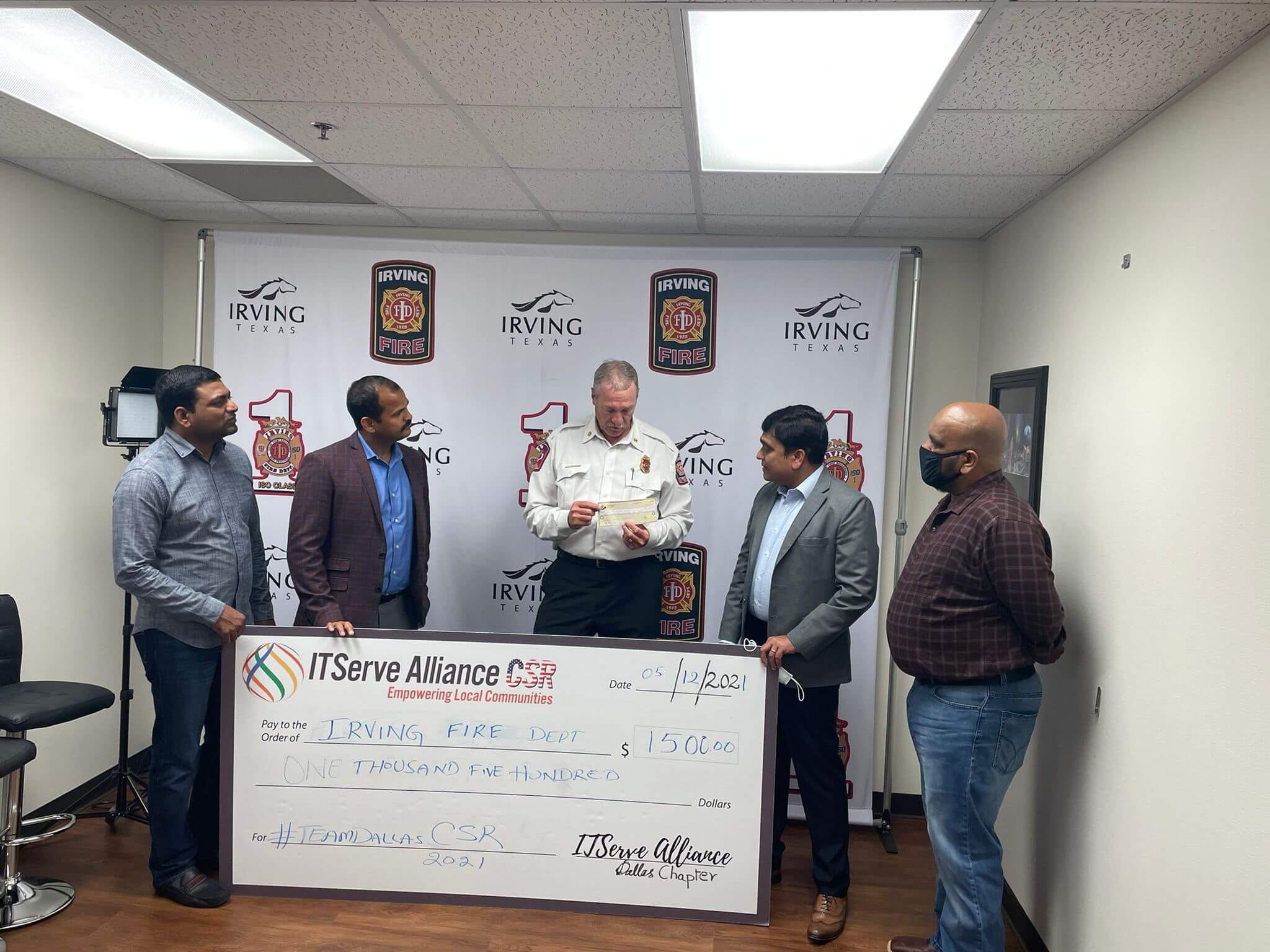 Appreciation of check $1500 to Irving Fire Department