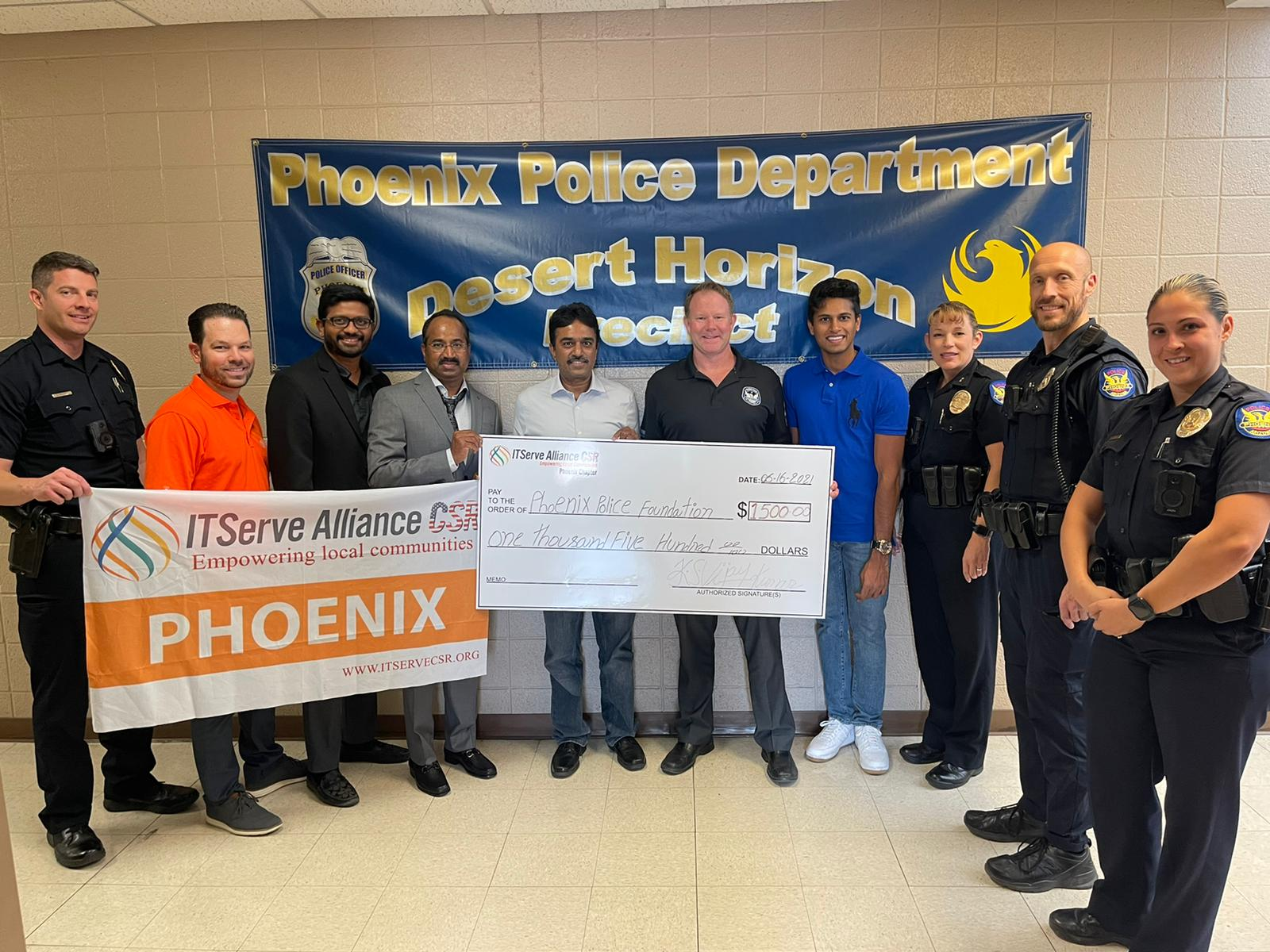 Team Phoenix honored the police department for their dedicated service and support to the community