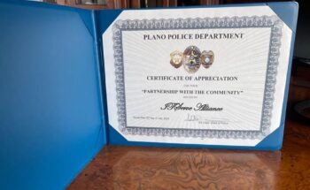 Certificate of Appreciation from Plano Police Department